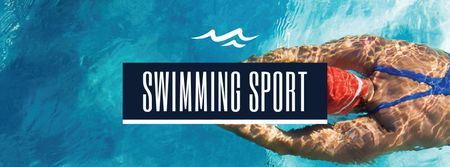 Modèle de visuel Swimming Sport Ad with Swimmer - Facebook cover