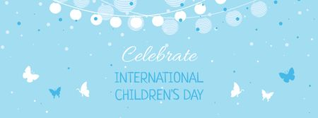 Children's Day Celebration with Cute Butterflies Facebook cover – шаблон для дизайна