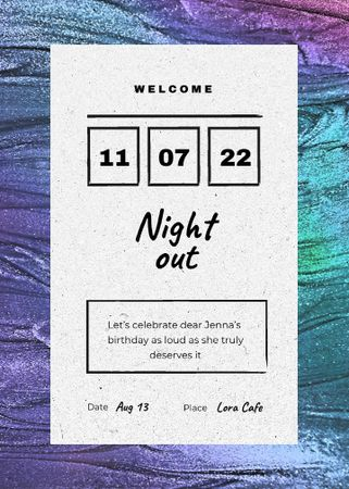 Ontwerpsjabloon van Invitation van Night Party Announcement with Colorful Texture