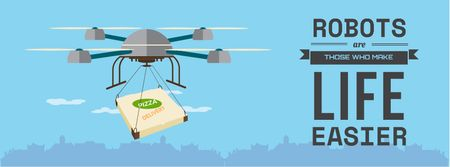 Innovation concept with Delivery Drone Facebook cover Tasarım Şablonu