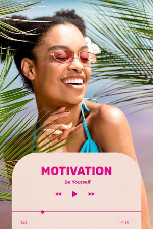 Motivational Phrase with Happy Young Woman Pinterest Design Template