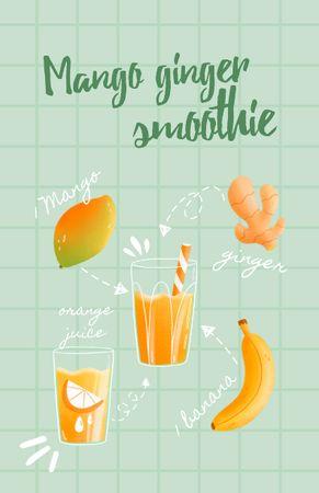 Ontwerpsjabloon van Recipe Card van Mango Ginger Smoothie Cooking