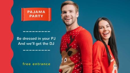 Modèle de visuel Pajama Party Announcement with Couple in Funny Sweaters - FB event cover
