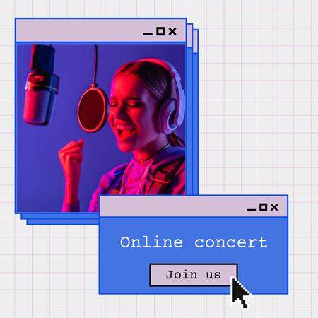 Platilla de diseño Online Concert Announcement with Female Singer Instagram