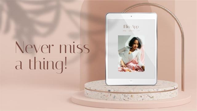 Ontwerpsjabloon van Full HD video van Attractive Young Woman on Tablet Screen
