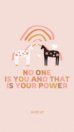 Plantilla de diseño de Girl Power Inspiration with Cute Unicorns Instagram Story