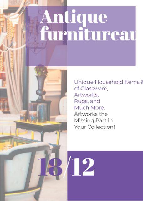 Antique Furniture Auction Vintage Wooden Pieces Invitation Tasarım Şablonu
