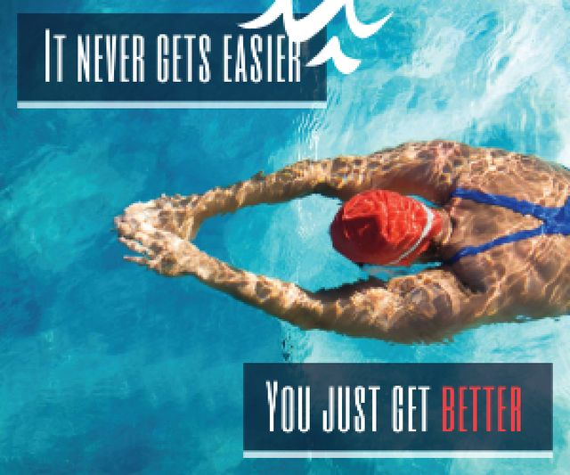 Inspirational quote poster with swimmer Medium Rectangle – шаблон для дизайну