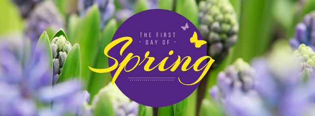 First Day of Spring with blooming flowers Facebook cover Modelo de Design