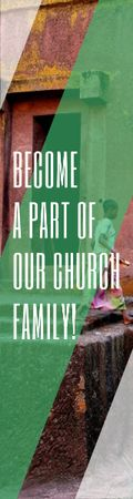 Become a part of our church family Skyscraperデザインテンプレート