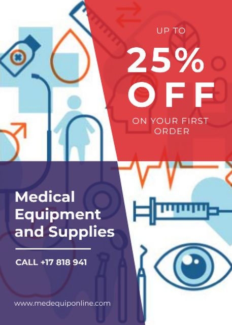 Medical equipment and supplies ad Flayerデザインテンプレート