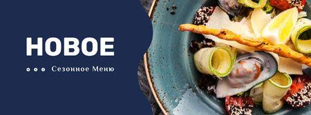 Seasonal Menu dish with Seafood Facebook cover – шаблон для дизайна