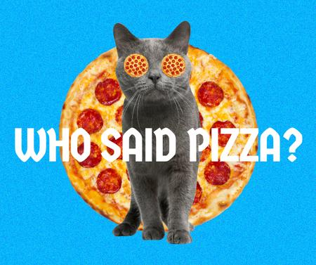 Funny Cute Cat with Pizza Eyes Facebook – шаблон для дизайна
