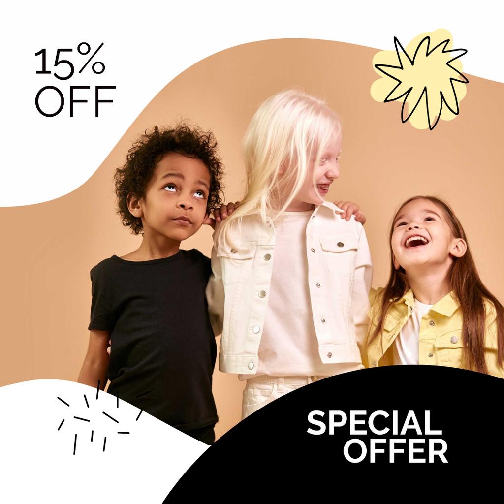 Ontwerpsjabloon van Instagram van Special Discount Offer with Stylish Kids