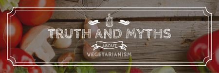 Modèle de visuel Vegetarian Food Vegetables on Wooden Table - Twitter