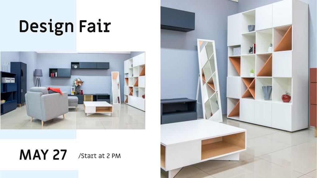 Design Fair Announcement with Modern Interior — Crear un diseño