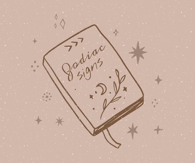 Modèle de visuel Book of Zodiac Signs illustration - Facebook