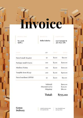Packing Services with Stack of Boxes Invoice tervezősablon