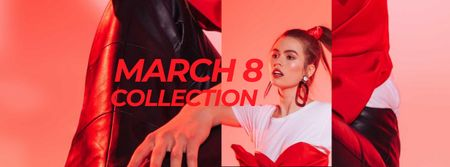 Fashion Collection Offer on March 8 Facebook coverデザインテンプレート
