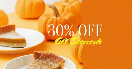 Ontwerpsjabloon van Facebook AD van Pumpkin pie offer