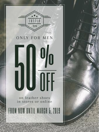 Plantilla de diseño de Fashion Sale Stylish Male Shoes Poster US
