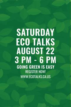 Ecological Event Announcement with Green Leaves Texture