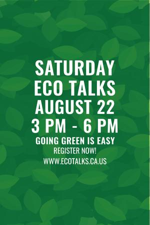 Template di design Ecological Event Announcement with Green Leaves Texture Pinterest