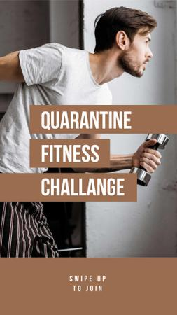 Designvorlage Man doing Workout at Home für Instagram Story