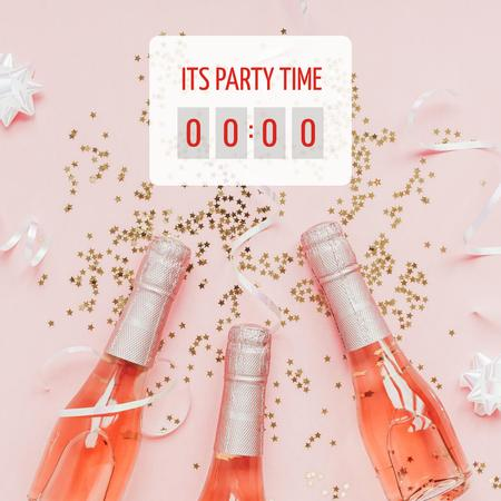Party Time with Champagne Bottles and Confetti Instagram Modelo de Design
