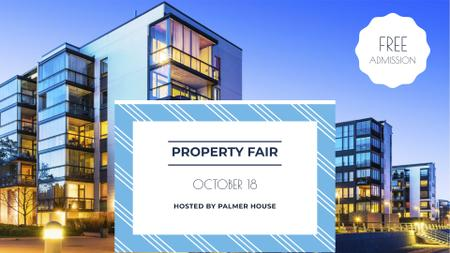 Property Fair Ad with Modern Houses FB event coverデザインテンプレート