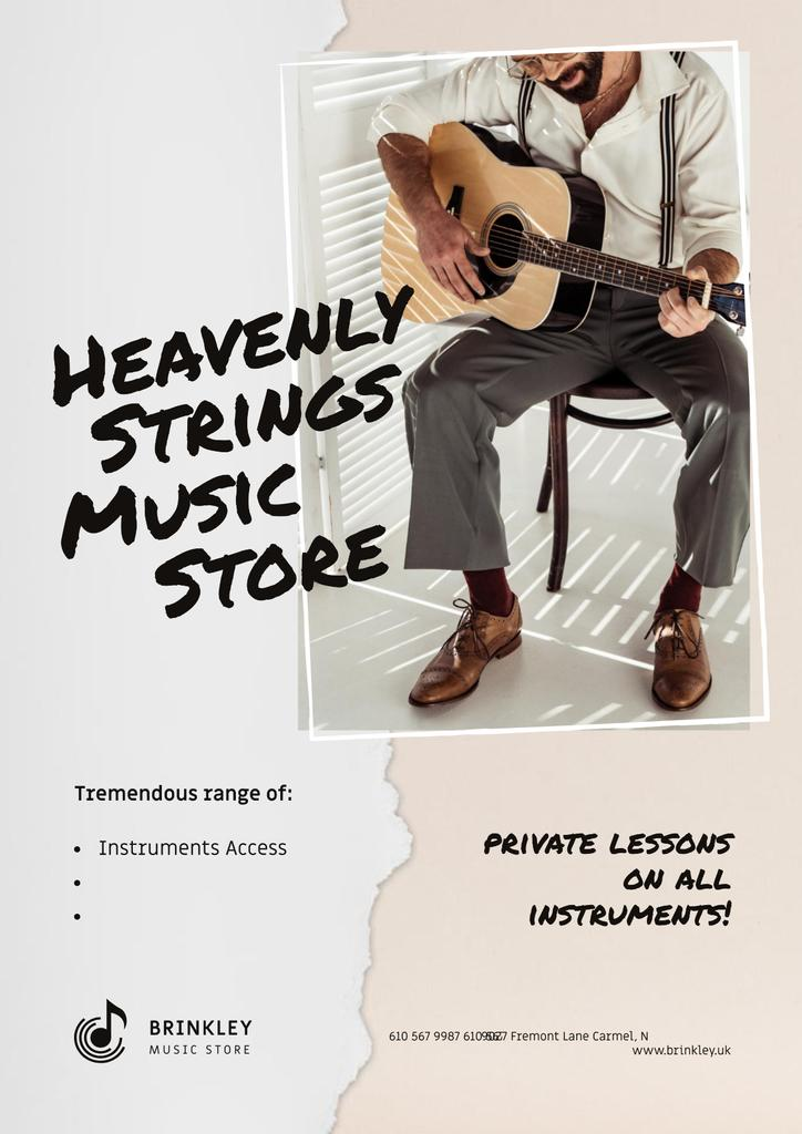 Music Store Offer with Man playing Guitar — Створити дизайн
