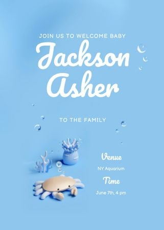 Baby Shower Announcement with Cute Crab Invitation – шаблон для дизайна