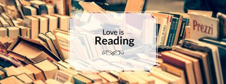 Love is reading Quote with bookstore Facebook cover – шаблон для дизайну