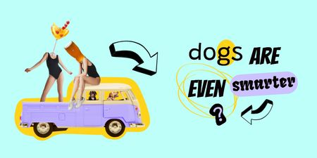 Crazy Illustration with Dogs driving Vintage Car Twitter Design Template