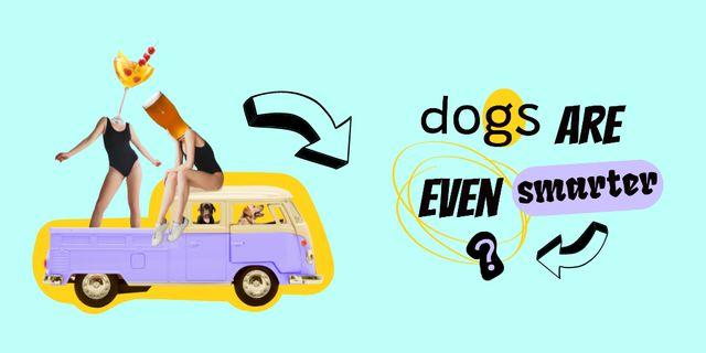 Plantilla de diseño de Crazy Illustration with Dogs driving Vintage Car Twitter