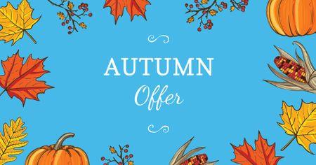 Ontwerpsjabloon van Facebook AD van Autumn Offer in Leaves Frame