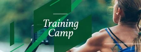 Ontwerpsjabloon van Facebook cover van Training Camp Ad with Athlete Young Woman