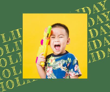 Cute Crying Child holding Water Gun Facebook Modelo de Design