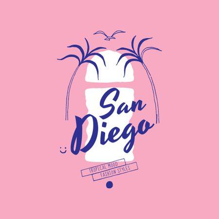 Travel Offer with Palm Trees Illustration Logo – шаблон для дизайну