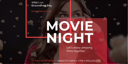 Movie night event Announcement Twitter Modelo de Design