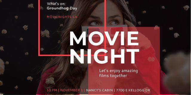 Movie night event Announcement Twitter – шаблон для дизайну