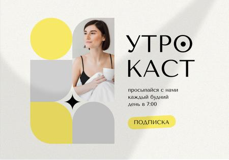 Plantilla de diseño de Podcast Ad with Woman holding Cup of Coffee VK Universal Post