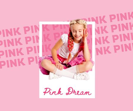 Cute Little Girl in Pink Outfit Facebook Modelo de Design
