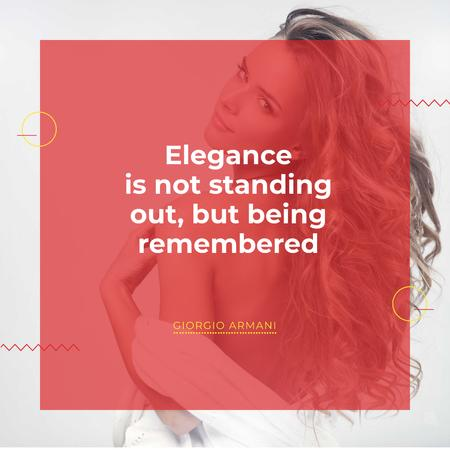 Elegance quote with Young attractive Woman Instagram AD Design Template