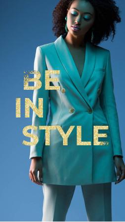 Plantilla de diseño de Stylish Woman in Blue Classic Outfit Instagram Video Story