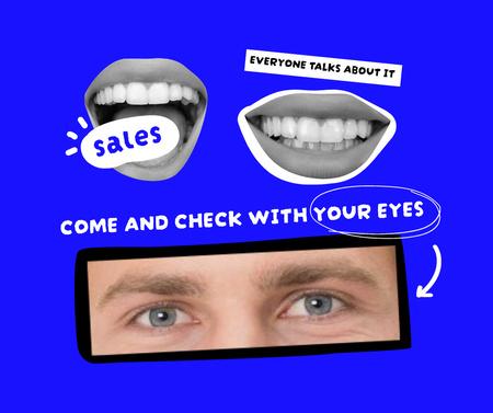 Plantilla de diseño de Sale Announcement with Funny Lips and Eyes Facebook
