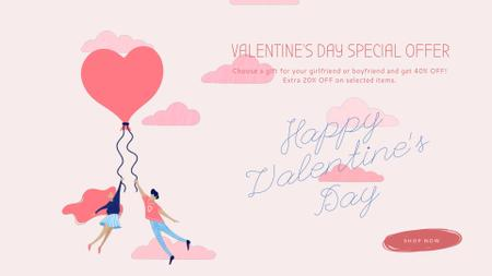 Plantilla de diseño de Valentine's Day Offer with Couple holding Balloon  Full HD video