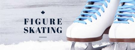 Template di design Figure Skating Offer with Skates on Ice Facebook cover