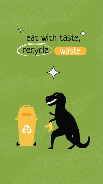 Eco concept with Dinosaur recycling Trash Instagram Story Modelo de Design