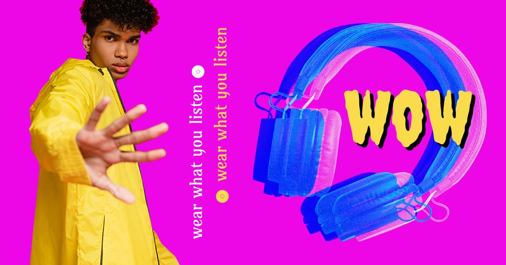 Platilla de diseño Podcast Announcement with Stylish Guy and Headphones Facebook AD